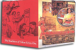 "100th anniversary commemorative menus from the famous Lunch Counter carried the slogan ""The Tradition of Value Lives On"" (Image with special thanks to Mr. John Compton)"