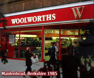 The cornerstone Woolworths in High Street, Maidenhead, Berkshire, pictured in 1985. This was one of the first wave of stores after the company changed its name to include an 'S'