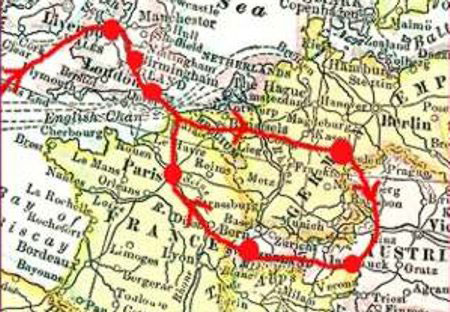 Map showing the route of Frank Woolworth's first European buying trip in 1890.