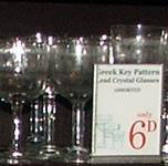 Greek key pattern lead crystal glasses were very popular in Woolworths stores in the 1910s and 1920s, and were sold in very large quantities.
