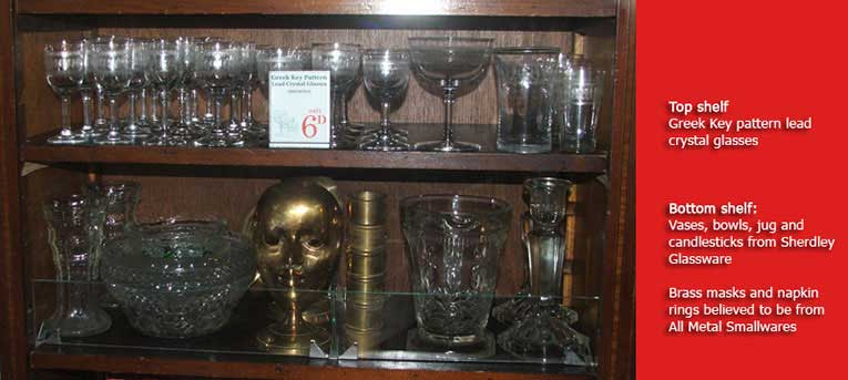 A display of 1930s glassware from Woolworths