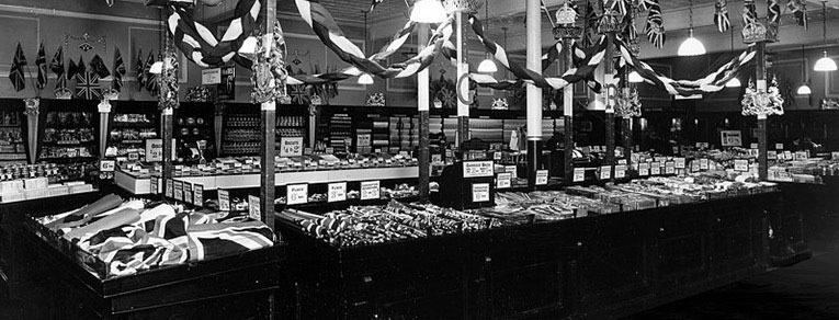 The salesfloor of Woolworths at Calverley Road, Tunbridge Wells set out with flags and bunting for the Silver Jubilee of King George V and Queen Mary in 1935
