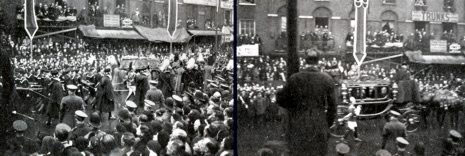 The gun carraige carrying the coffin of King George V along Edgware Road, London (left) and the carraige carrying H. M. the Dowager Queen Mary following behind. These two pictures were taken by a Woolworths colleague using a sixpenny camera from the store.