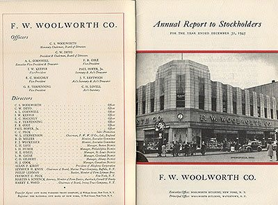 The F. W. Woolworth Co. Annual Report for 1945, which shows C. S. Woolworth as the Honorary Chairman, but for the first time in 65 years another man, C.W. Deyo, was in charge.