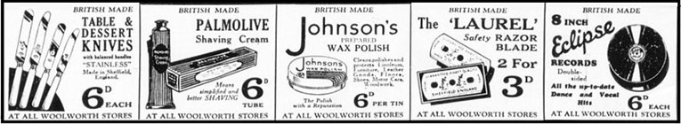 F.W. Woolworth Advertisement from the London Edition of the Daily Mail in 1932. Click the image to open the full advertisement in a new window