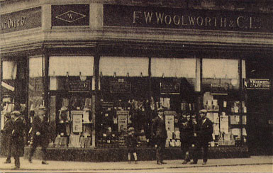 Window displays at the F. W. Woolworth store in Oldham Street, Manchester, which opened in 1910