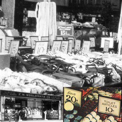 Changing price tickets in Woolworth stores in North America in the 1930s (featured store Windsor, Ontario, Canada)