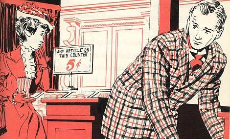 "An artist's impression by Gray Morrow of the original five cent table, taken from Elisabeth P Myers children's book ""F. W. Woolworth Five and Ten Boy""  Library of Congress No. 62-16590.  © Copyright 1961 Bobbs Merril Co. Inc."