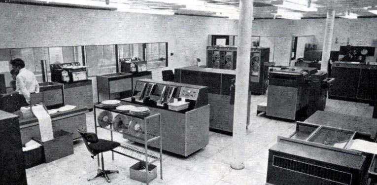 Data input to the first mainframe computers was by paper tape or punched cards.  The equipment shown collectively has less processing power than a modern digital watch or mobile phone.