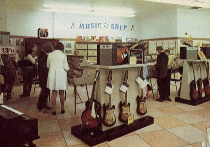Electric Guitars on sale in F. W. Woolworth, Wolverhampton in 1969.