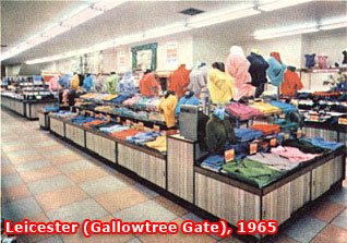 The clothing counters in the large Woolworth store at Gallowtree Gate, Leicester in 1965