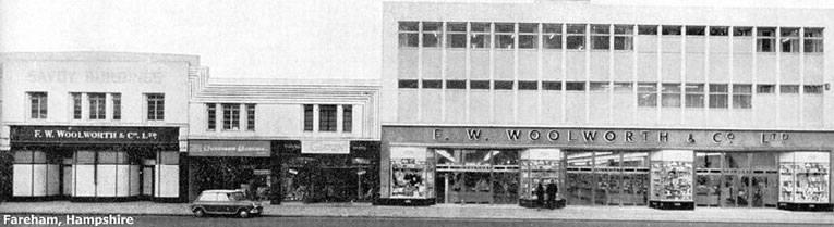 The old and the new, a small 1930s Woolworth store and its 1960s successor stand side-by-side in Fareham, Hampshire