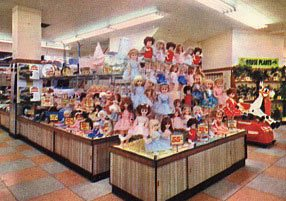 A brightly-coloured display of Winfield dolls in Woolworths of Leicester in 1965