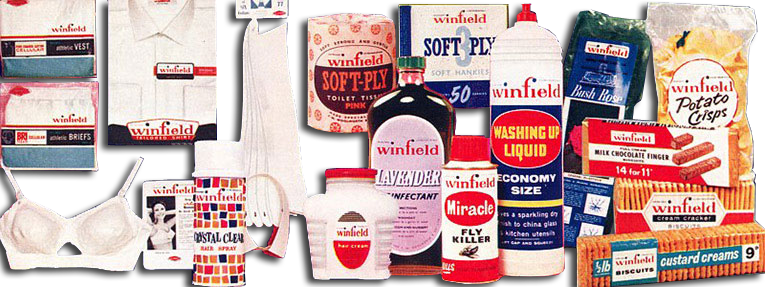 Some of the wide range of Winfield products when the brand was launched by F.W. Woolworth in 1963.
