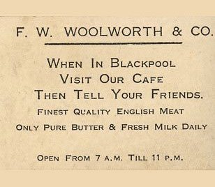 A card promoting the Woolworths Restaurant in Blackpool, published before World War II