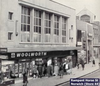 The large, purpose-built  F. W. Woolworth store in Rampant Horse Street, Norwich, which was sold to Marks and Spencer in the 1980s