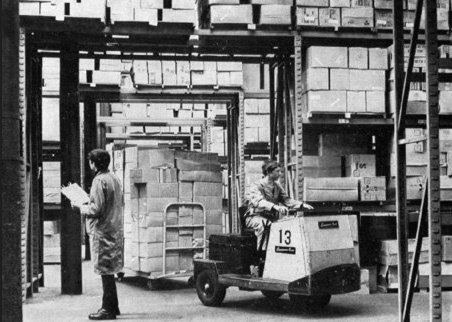 A forklift truck in operation in the Castleton Distribution Centre in the late 1960s