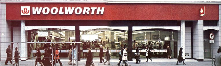 The wide frontage of the flagship F. W. Woolworth store in London's Oxford Street, W1. It was one of the first to close after the business was taken over, leaving the chain in 1983.