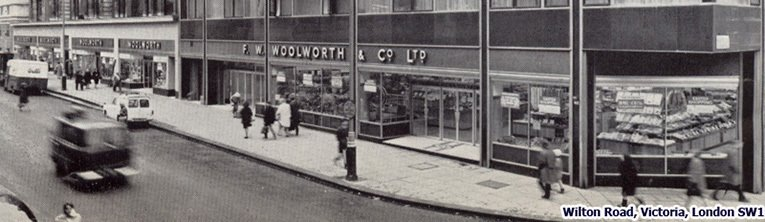 The Woolworths store adjacent to London's Victoria Station had such a large expanse of glass frontage that it employed three full-time window dressers. It closed its doors in 1984.  Today Argos and Sainsbury occupy the modern building in the foreground, while other parts have been redeveloped.