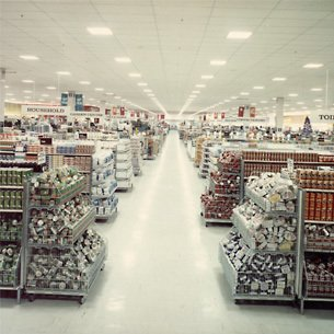 Ultra wide gangways and tall gondola island counters were the trademarks of Woolworth's experimental Woolco hypermarket in Newtonards when it opened in July 1976