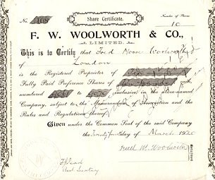 An original Woolworth UK share certificate from 1909