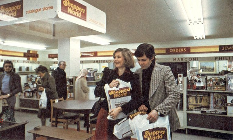 The interior of a Shoppers World store in 1975
