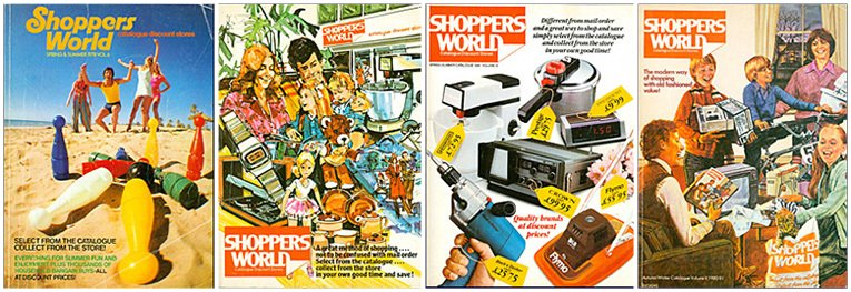 Example catalogues from Shoppers World (left to right 1978 to 1981)