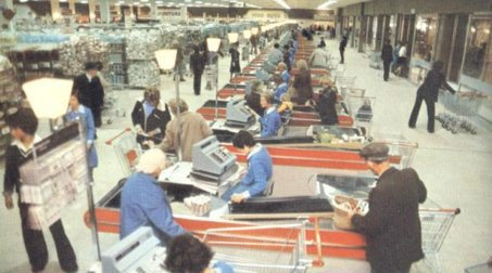 The Woolco hypermarket in Newtonards, Country Antrim, Northern Ireland had checkouts as far as the eye could see