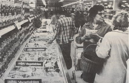 Bold displays of frozen foods in the Woolco hypermarket in 1976