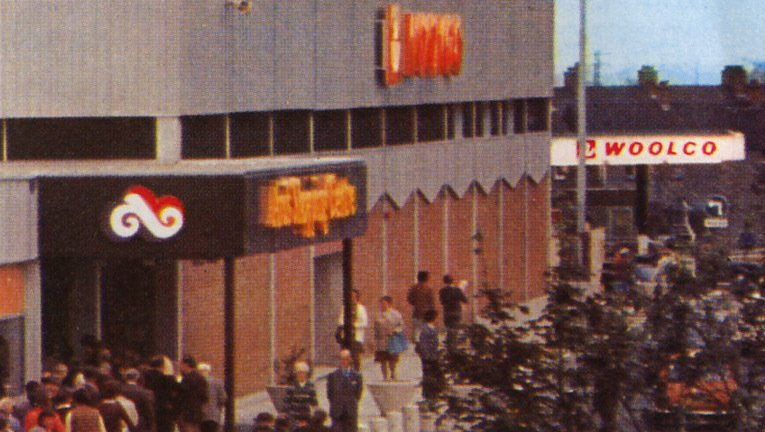 A colour view of the Ards Shopping Centre from July 1976, the start of the long hot summer