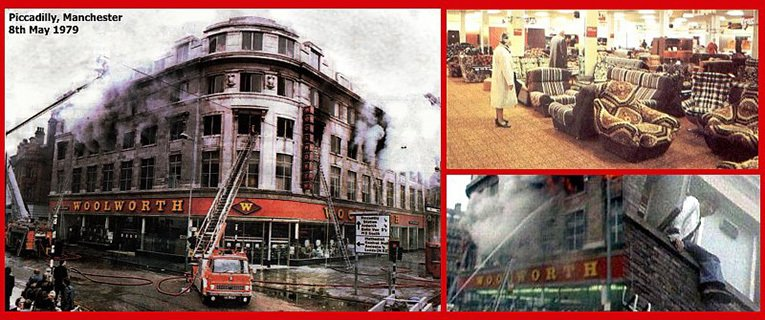 The terrible cost of complacency - ten lives lost in an horrific fire at the Woolworths superstore in Piccadilly, Manchester in May 1979.  (Photographs courtesy of the Manchester Evening News, BBC Look North West, the Fire Brigades Union and Mr Graham Hill.