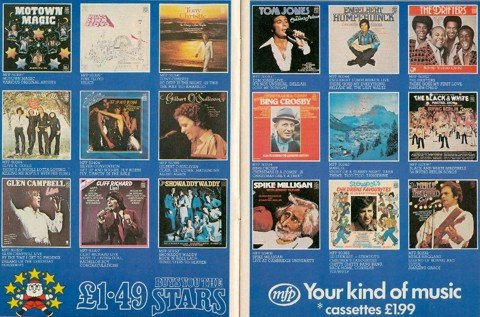 An advertisement for the selection of Music for Pleasure (MFP) budget records available in Woolworths' stores in the late 1970s.  Their back catalogue was second-to-none