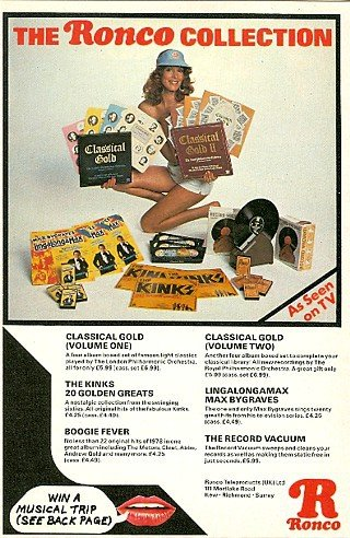 Ronco specialised in original artist hit LPs and Cassettes, heavily promoted on TV, alongside a famous range of gimmick products like the record vacuum cleaner