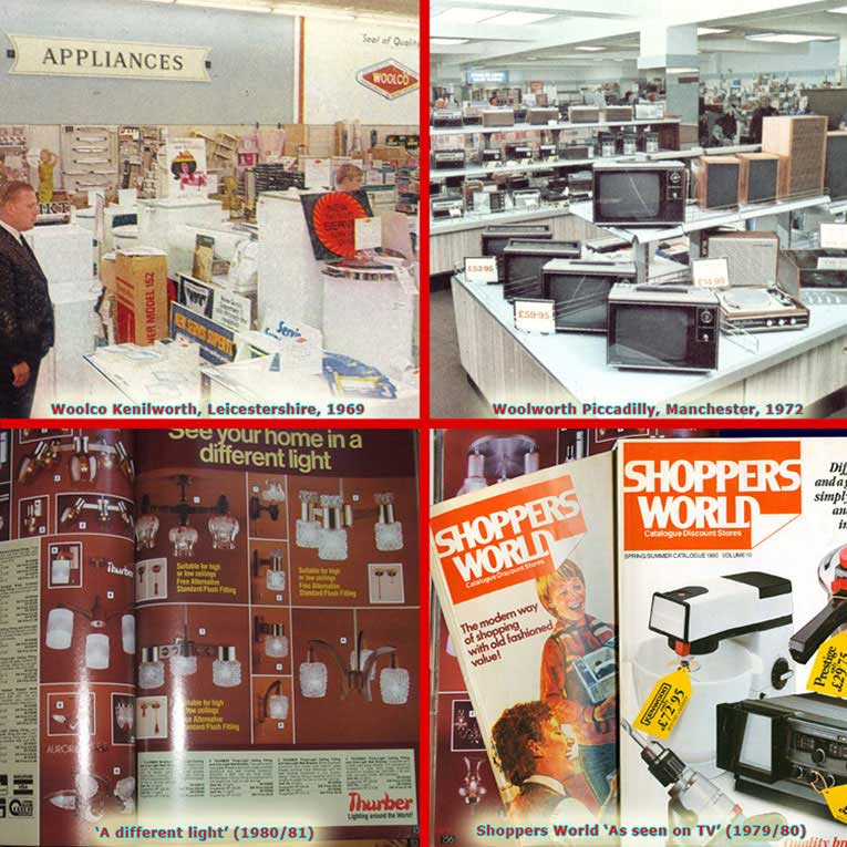 The growing range of lighting and electrical appliances and Woolworth and its subsidiaries, Woolco and Shoppers World between 1960 and 1980