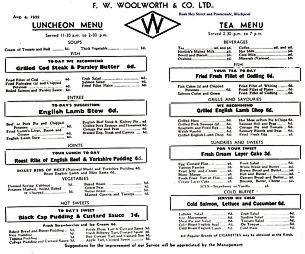 Menu from the Woolworths Restaurant and Blackpool from August 4th, 1939. Click the image for a full screen, legible version. Many items are threepence with the most expensive main course dishes including Roast Beef and Yorkshire Pudding just sixpence (2½p)
