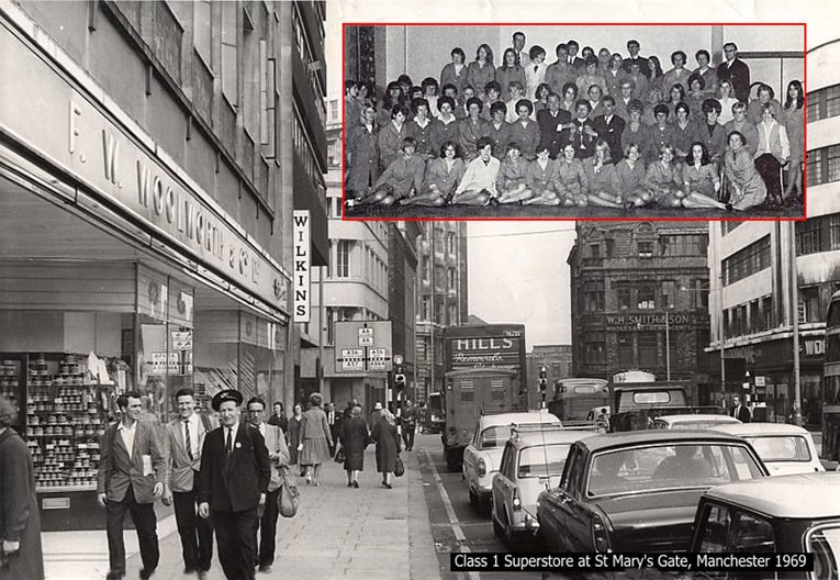 A typical large Woolworth store in the 1960s - the superstore in St Mary's Gate, Deansgate, Manchester (Store 230). Inset there is a team photograph of the full store staff.