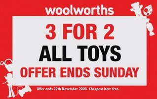 Three for the price on two for toys - a highly effective and cash generative promotion in November 2008