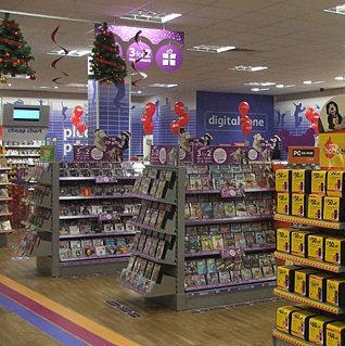 The huge Entertainment department in the prototype Woolworths Kids Store format branch in Midland Road, Bedford, pictured at Christmas in 2006