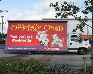 Best ever Woolworths? A mobile advert for the new look '20/20' store at Imperial Park, Hartcliffe, Bristol (Image: David Austen)