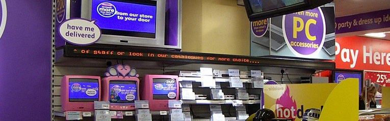 Digital signage and LCD TVs relayed news of the store's extended range
