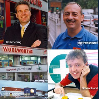 The MD3 - Woolworths Managing Directors Keith Fleming (Local and Heartland Stores), Bob Hetherington (City Destination and Big W out-of-town), and Steven Round (General Store, Health and Beauty)