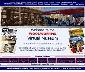 The original home page of the Woolworths Virtual Museum when it launched in 2004
