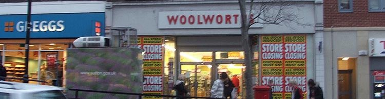 Wallington, Surrey, UK - one of the more than 700 profitable Woolworths stores that was forced to close by the collapse of the parent company in the winter of 2008/9.