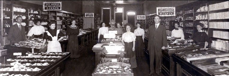 An interior view of the Glens Falls, NY,  C. S. Woolworth store from 1911. The staff had to stand still for a full minute for this sharp interior view to be taken. (Image with special thanks to Mr Scott Oakford, great grandson of Mr Woolworth)
