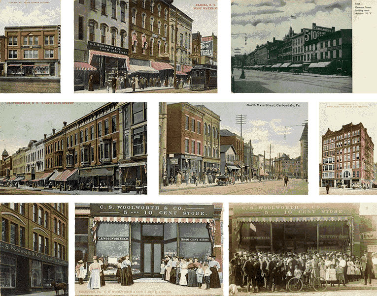 C.S. Woolworth Five and Ten Cent Stores in New York, Maine and Pennsylvania in the 1900s