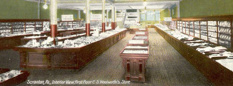 The well-appointed upper salesfloor at the C. S. Woolworth Five-and-Ten Cent Store in Scranton, Pennsylvania, pictured in around 1905