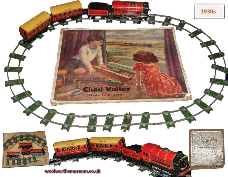 Chad Valley trainsets first went on sale in the 1930s. The tinplate engines and carraiges were originally supplied with a loop of track for thirty shillings (£1.50), equating to around £100 today