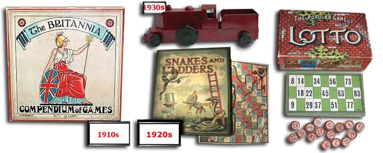 Chad Valley toys from between the World Wars: clockwise Compendium of Games from the 1910s, Bakelite Toy Train from the 1930s,  Lotto Game with Bingo Sheets and Wooden Counters from the 1930s and Snakes and Ladders from the 1920s