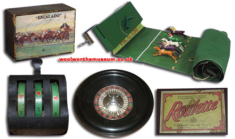 1930s vices for the gentry from Chad Valley. Escalado horse racing, a mechanical fruit machine and a perfectly-weighted bakelite roulette wheel. Each product bears the Royal Warrant 'Chad Valley Co. Ltd., Toymakers to H.M. The Queen'