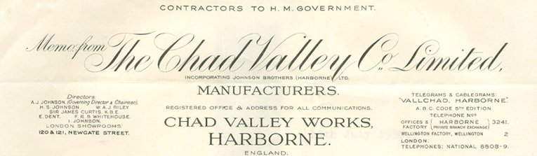The letterhead of the Chad Valley Company carried the names of the firm's Directors, most of whom were still from the Johnson Family right up to the Second World War